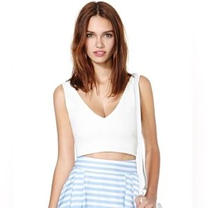 nasty gal ivory crop back zip